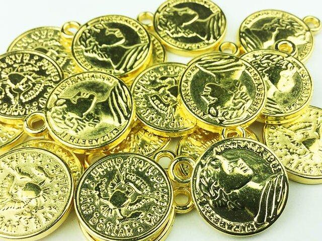 送料無料 コイン チャーム ゴールド 16mm 20枚 アンティーク メタルパーツ ピアス ネックレス 素材 (AP0015)の画像1枚目