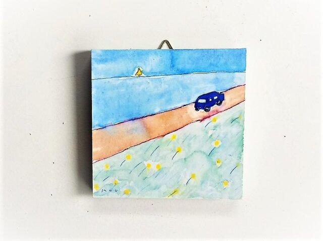 「青い車」 / ミニアートパネルの画像1枚目