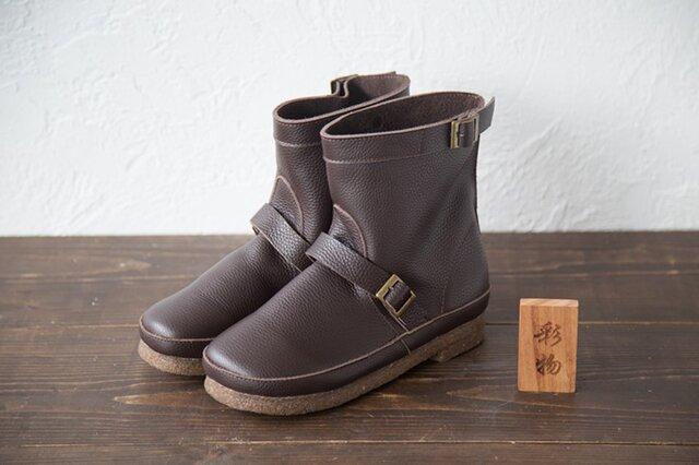 【受注製作】筒の形の牛革ブーツ 厳選したレザーで製作 茶褐色 MB833の画像1枚目