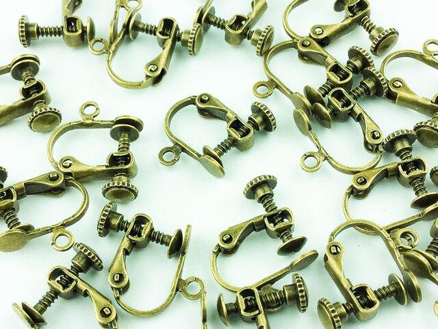送料無料 イヤリング パーツ 20個 金古美 アンティーク ゴールド 平皿 カン 付き イヤリングパーツ (AP0038)の画像1枚目
