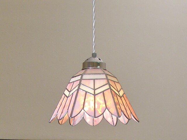 ペンダントライト・ピンクのお花(ステンドグラス)天井のおしゃれガラス照明 Lサイズ・(コード長さ調節可)16の画像1枚目