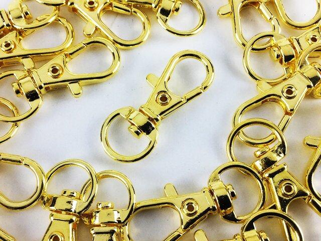 送料無料 ナスカン ゴールド 32mm 20個 金 回転 フック アクセ キーホルダー ストラップ パーツ 金具 AP0135の画像1枚目