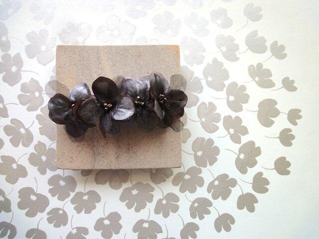 【受注生産】花びらのバレッタ■サテン×オーガンジー■チョコブラウンの画像1枚目