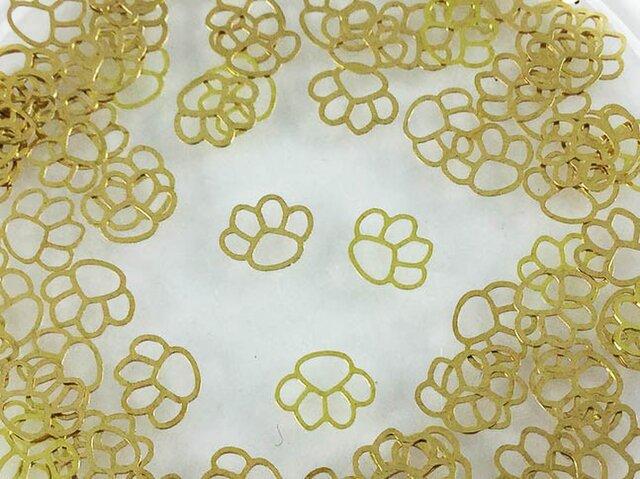 送料無料 メタルパーツ ネコの肉きゅう ゴールド 100個 透かし パーツ 猫 にくきゅう レジン デコ ネイル AP0174の画像1枚目