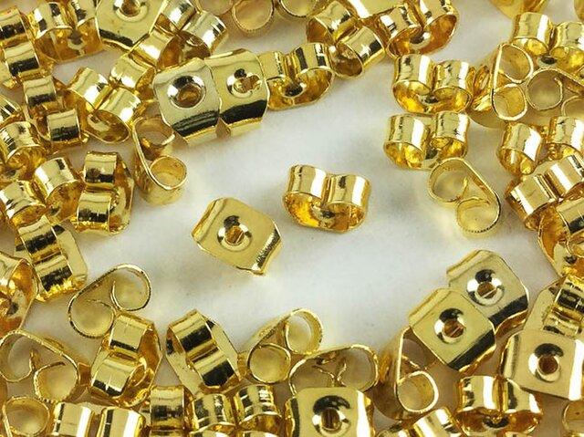 送料無料 ピアスキャッチ ゴールド 100個 5mmx4mm ホール径1mm ピアス パーツ ピアス金具 (AP0198)の画像1枚目