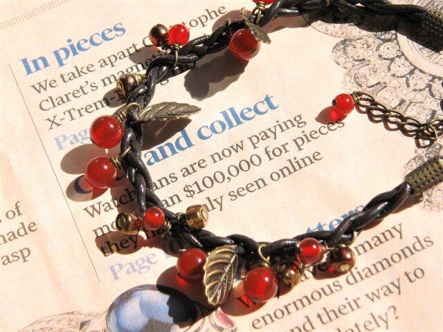 天然石 赤メノウのブレスレットの画像1枚目