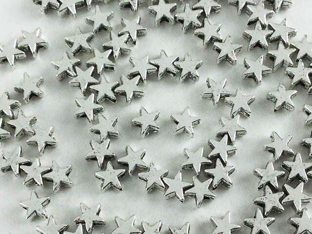 送料無料 ロンデル 5mm 100個 シルバー 星 型 チャーム パーツ スター 金属パーツ スペーサー (AP0217)の画像1枚目