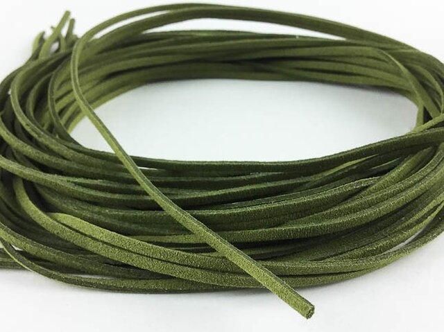 送料無料 スエード 紐 1m 10本 モス グリーン 緑 革ひも 革ヒモ 革紐 チョーカー ネックレス パーツ  AP0223の画像1枚目