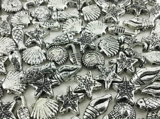 送料無料 マリン チャーム 銀古美 化石風 100個  シルバー  ビーズ シェル ヒトデ スターフィッシュ 海 AP0250の画像1枚目