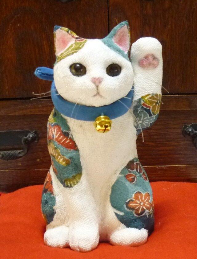 青い招き猫 左手招きの画像1枚目
