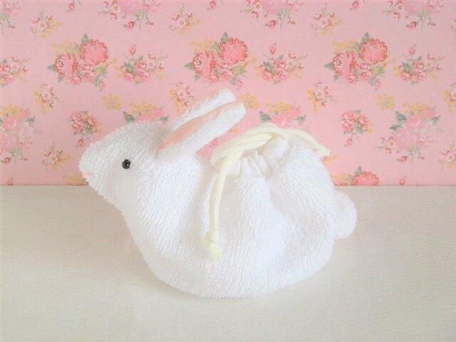 かわいい白うさぎのミニ巾着(白タオル生地)の画像1枚目