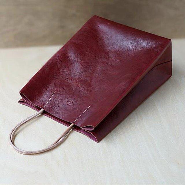 紙袋っぽい革袋 S・ バーガンディの画像1枚目