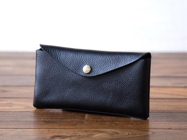 イタリア製牛革のコンパクトな長財布3  /   ブラック※受注製作の画像1枚目