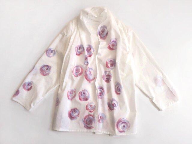 コットン羽織り【バラ】手描きの画像1枚目