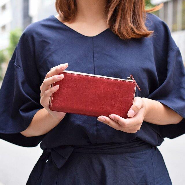 姫路産 馬革 オールレザーで仕上げた長財布 L型 手もみ シュリンク加工 ワインレッド ギフト 本革の画像1枚目