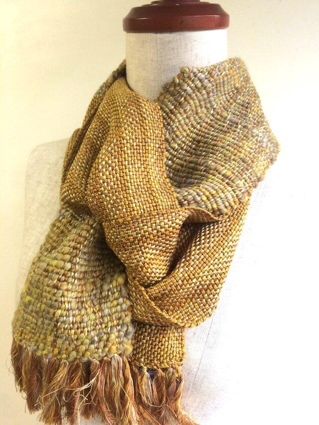 手紡ぎ糸と手織りのマフラー no.1の画像1枚目