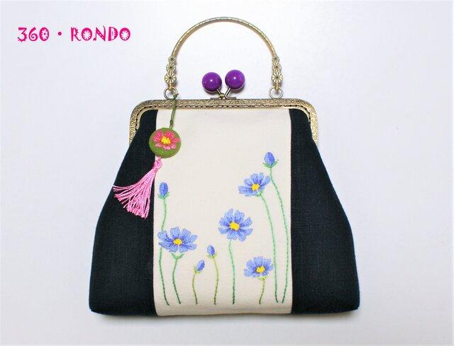 「コスモス・風に揺れる花刺繍(b) バッグ」海外リネン・洋服にも着物にも♪の画像1枚目