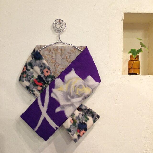 銘仙×リネン刺繍の小さな襟巻き165 ストール ネックウォーマー プチマフラーの画像1枚目