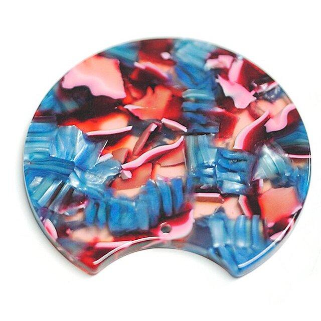 【2個入り】ブルー&ピンク系カラフルカラー37mm円形!セルロース (acetylcellulose)樹脂パーツの画像1枚目