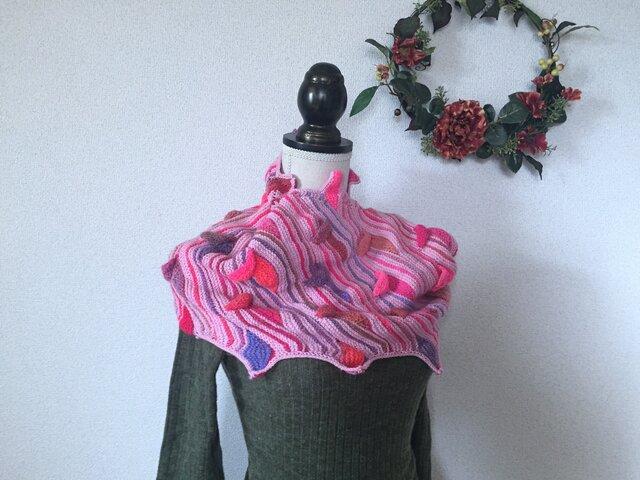 ★☆首周りを温かく♪〜手編みの葉っぱモチーフのスヌード~☆★の画像1枚目