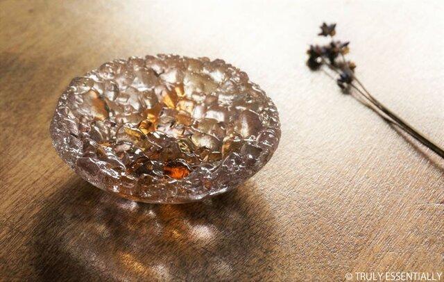 ガラスのアクセサリートレイ - 「 KUBOMI 」● アプリコット・9cmの画像1枚目