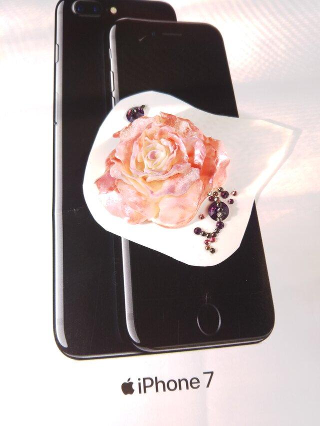 スワロフスキー★3Dデコシール 薄ピンクのバラの花の画像1枚目