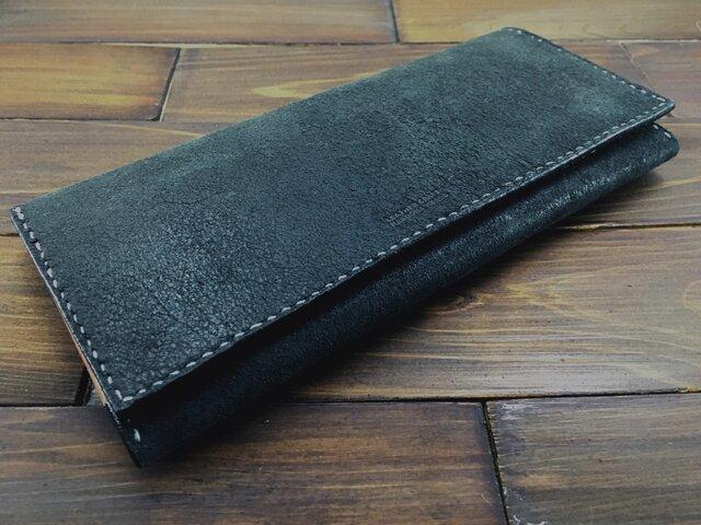 本革製!手縫いの紳士長財布(牛ヌバック)の画像1枚目