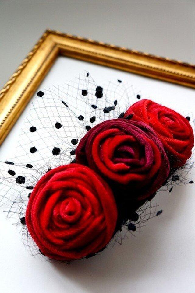 ベルベットローズヘッドドレス/redの画像1枚目