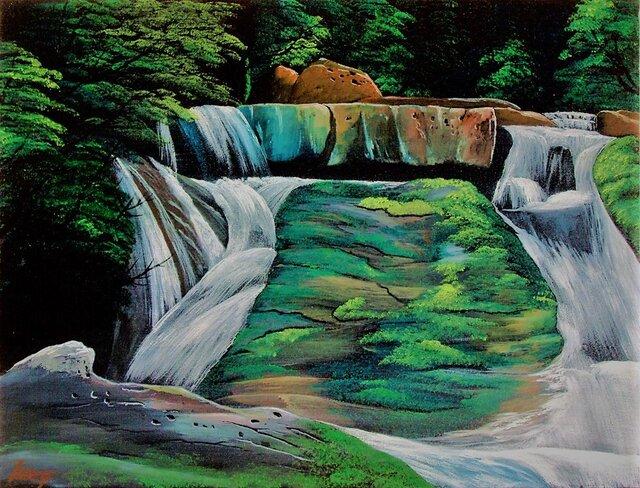 深緑の渓流風景5の画像1枚目