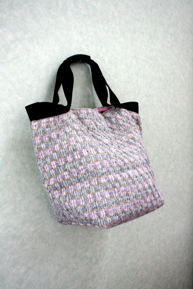 北欧手織りウールトートバッグ(グリーン×ピンク)の画像1枚目