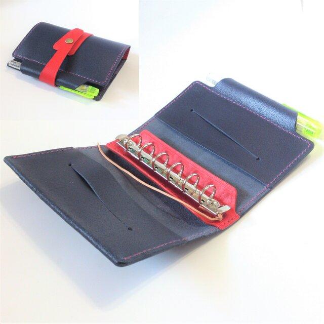 筒状ペンホルダーのシステム手帳 ミニ6穴 B7サイズ SN-001b&r ヌメ床革 ブルー&レッド レザー 手帳 ノートの画像1枚目