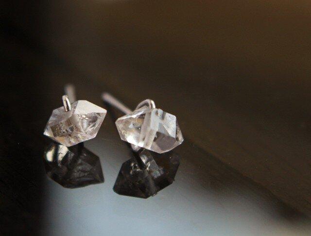 ハーキマーダイヤモンド Yピアス Silver925 or K18の画像1枚目