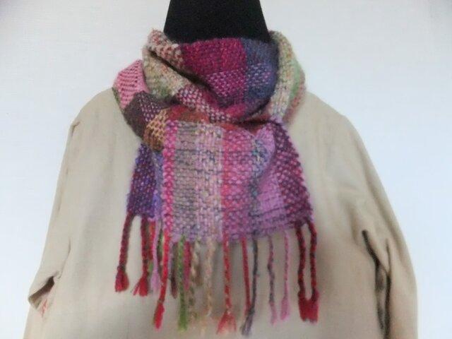 お気に入りの糸たちの手織りマフラー f5の画像1枚目