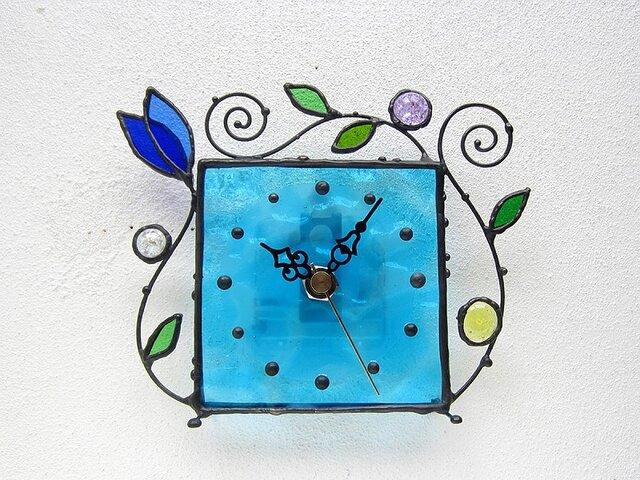 ステンドグラス*掛け&置き時計・水色のアラベスク2の画像1枚目