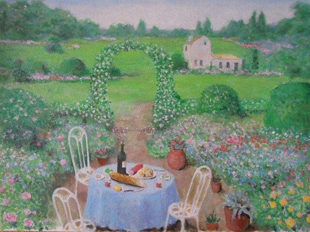 ローズガーデン・(ワインとフランスパンのテーブル)の画像1枚目