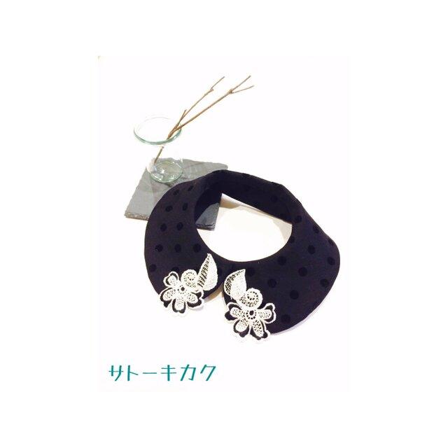 つけ襟☆ドットフロッキー ×刺繍レース【送料無料】の画像1枚目