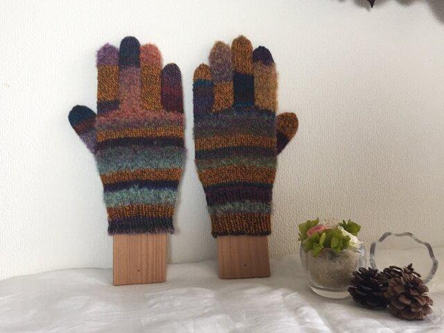 【再販】★☆手編みのカラフル5本指手袋(^^♪☆★の画像1枚目