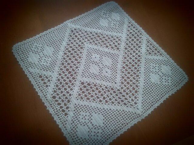 レース編み ホワイト 正方形の画像1枚目