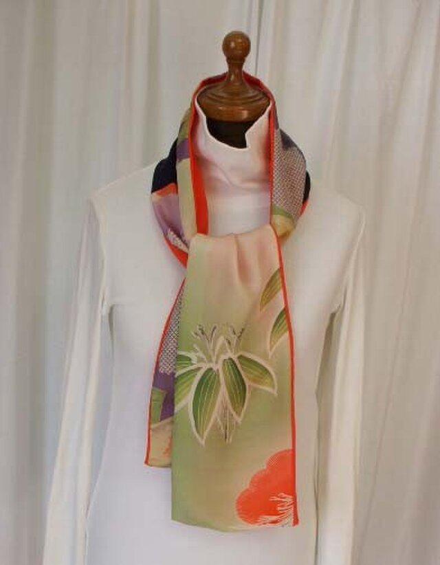 絹 アンティーク羽織裏2種からストールの画像1枚目