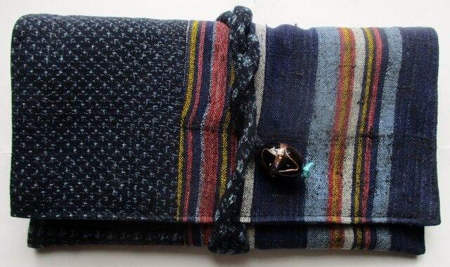 送料無料 男絣と唐桟縞の着物で作った和風財布・ポーチ 2999の画像1枚目
