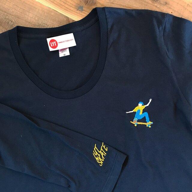 スケートボード 刺繍 Uネック ロングスリーブ Tシャツの画像1枚目