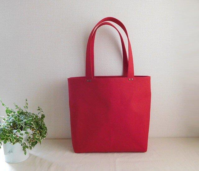 帆布トートバッグ 赤の画像1枚目