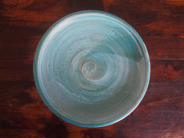 カレー皿 釉流れ(トルコブルー)の画像1枚目