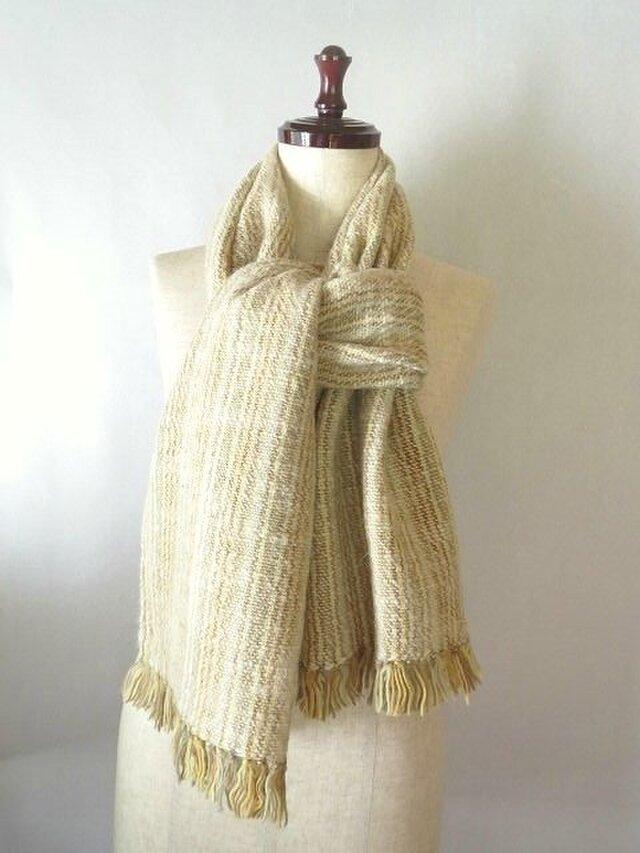 手織り 色々な植物で染めた羊毛のストール(5)の画像1枚目