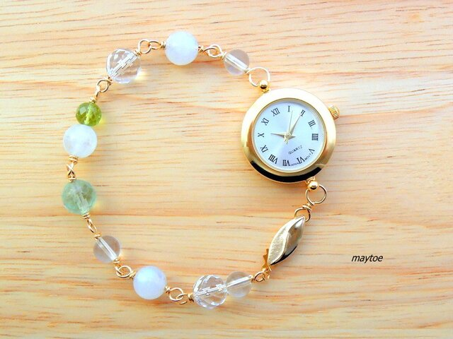 ペリドット&ムーンストーン*14kgfジュエリー腕時計の画像1枚目