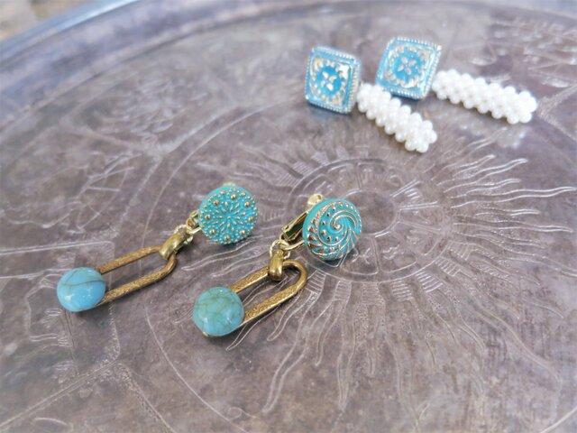 ターコイズグラスイヤリング vintage earrings turquoise <ER-tqw>の画像1枚目