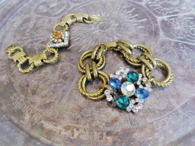 ヴィンテージビジューブレスレット vintage bijou bracelet <BL-RBblab>の画像1枚目