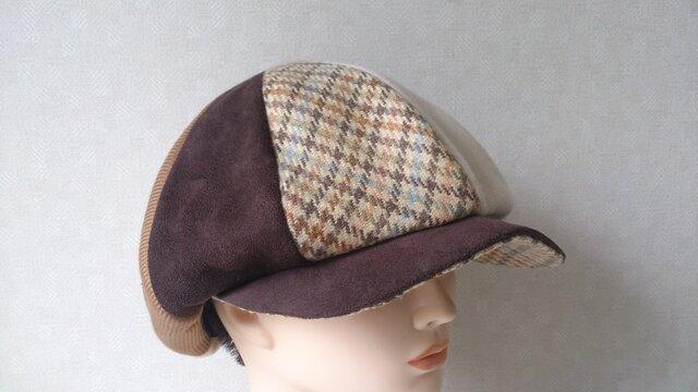 魅せる帽子☆ふんわり♪ウール&スエード4種使いのハンチング風キャスケットの画像1枚目