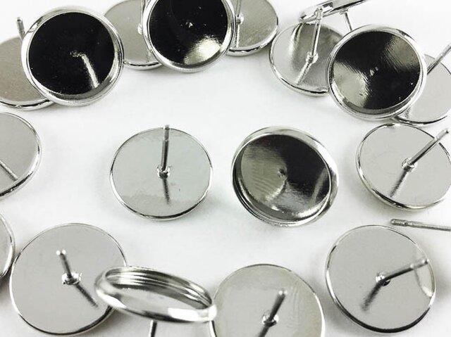 送料無料 ミール皿 付き ピアス シルバー 20個 ピアスパーツ (AP0301)の画像1枚目