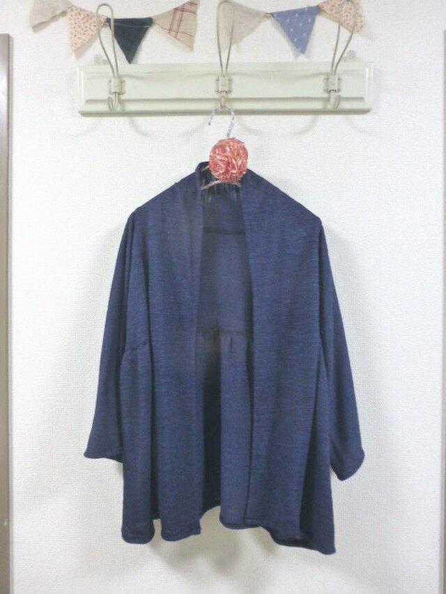 濃いブルーデニム風ニット生地 羽織カーディガン Mの画像1枚目